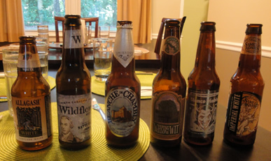 Six witbier bottles