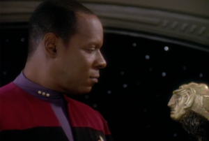 Sisko and the Grand Nagus' staff (on loan)